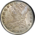 Bust Half Dollars: , 1824 50C MS64 PCGS. O-115, R.2. A tiny mint-made dot in the fieldbelow the left end of the scroll affirms the variety. Sli...
