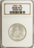 Seated Half Dollars: , 1874 50C Arrows MS61 NGC. A well struck and unworn example of thisshort-lived variety with soft but pleasing luster. Myria...