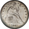 Seated Dollars: , 1845 $1 AU58 NGC. A charming better date dollar with substantialluster and dusky tan and gra...