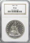 Proof Seated Dollars: , 1861 $1 PR62 NGC. This fully struck No Motto proof dollar hasfrosty devices and appears to m...