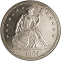 Proof Seated Dollars: , 1864 $1 PR63 NGC. Business strikes of the Civil War-issue 1864Seated dollar amounted to a mi...
