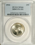 Washington Quarters: , 1932 25C --Doubled Die Obverse--MS66 PCGS. FS-101. Prominent diedoubling is observed on Washington's nostril, earlobe, and ...