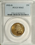 Washington Quarters: , 1932-D 25C MS62 PCGS. Softly lustrous beneath peach, gray, andbrown patina. The strike is more than adequate, though a num...