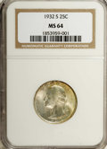 Washington Quarters: , 1932-S 25C MS64 NGC. Softly lustrous with golden-tan toning overthe right side of the obverse and violet peripheral accent...