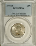 Washington Quarters: , 1935-D 25C MS66 PCGS. Mostly brilliant surfaces with splashes ofgolden-brown, light green, and crimson on both the obverse...
