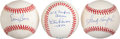 Autographs:Baseballs, Sandy Koufax, Ernie Banks, And Don Larsen Perfect Game SingleSigned Baseball Lot Of 3....