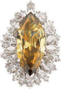 Fancy Deep Brownish-Yellow Diamond, Diamond, Platinum Ring-Dant