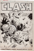 "Original Comic Art:Splash Pages, Jim Starlin and Al Milgrom Marvel Fanfare #21 ""Clash PartTwo"" Thing Splash page 1 Original Art (Marve..."
