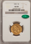 Liberty Half Eagles: , 1853 $5 AU58 NGC. CAC. NGC Census: (143/82). PCGS Population(34/68). Mintage: 305,770. Numismedia Wsl. Price for problem f...