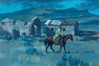GARY CARTER (American, b. 1939) Riding the Grub Line, 1973 Oil on canvas 20 x 30 inches (50.8 x 7