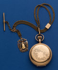 Timepieces:Pocket (post 1900), Illinois 18 Size Private Label Low Karat Gold Hunters Case, Gold Filled Chain And Gold Tote Redman's Veteran's Fob. ...