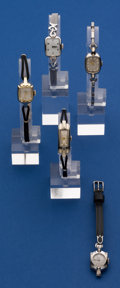 Timepieces:Wristwatch, A Lot of Five 14k Gold Ladies Wristwatches, Non Gold Bands. ...(Total: 5 Items)
