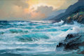 Fine Art - Painting, European:Contemporary   (1950 to present)  , ALEXANDER DZIGURSKI II (American, 1911-1995). Sunset on thePacific. Oil on canvas. 24 x 36 inches (61.0 x 91.4 cm). Sig...