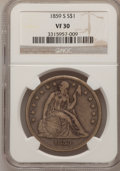 Seated Dollars, 1859-S $1 VF30 NGC....