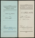 Baseball Collectibles:Others, Joe Cronin and William Harridge Signed Contracts Lot of 2....