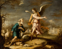 THE PROPERTY OF A CALIFORNIA FAMILY  CORNELIS SCHUT III (Flemish, 1629-1685) Shepherd and Archangel in a