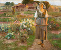 19th Century European:Pre-Raphaelite, JEAN BEAUDUIN (Belgian, 1851-1916). Maiden in the Garden.Oil on canvas. 24 x 29 inches (61.0 x 73.7 cm). Signed lower r...