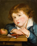 19th Century European:Romanticism, Manner of JEAN-BAPTISTE GREUZE (French, 1725-1805). Boy with anApple. Oil on canvas. 16-1/4 x 13 inches (41.3 x 33.0 cm...