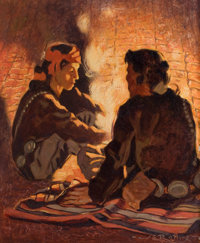 WARREN ELIPHALET ROLLINS (American, 1861-1962) Campfire Chat Oil on canvas 21-1/2 x 17-1/2 inches