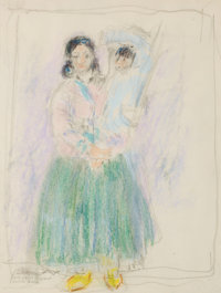 LEON GASPARD (American, 1882-1964) Taos Mother and Child Color crayon and pencil on paper 8-1/8 x
