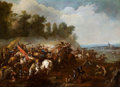 Paintings, Manner of ADAM FRANS VAN DER MEULEN (Flemish, 1632-1690). Cavalry Skirmish in an Extensive Landscape with Village in the D...