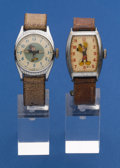 Timepieces:Wristwatch, Two Character Wristwatches Jiminy Cricket & Mickey Mouse. ... (Total: 2 Items)