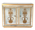 Furniture : American, AN AMERICAN PAINTED AND MIRRORED BAR CABINET WITH EGLOMISÉ PANELS . Possibly New York, New York, circa 1950. Unmarked. 39-3...