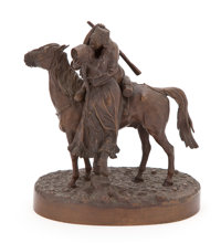 A RUSSIAN BRONZE FIGURAL GROUP OF A COSSACK ON HORSEBACK KISSING HIS SWEETHEART After Vassili Yacovlevitch Grache