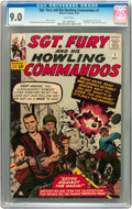 Silver Age (1956-1969):War, Sgt. Fury and His Howling Commandos #1 (Marvel, 1963) CGC VF/NM 9.0 White pages....