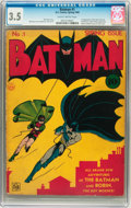 Golden Age (1938-1955):Superhero, Batman #1 (DC, 1940) CGC VG- 3.5 Slightly brittle pages....