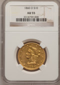 Liberty Eagles: , 1860-O $10 AU55 NGC. NGC Census: (37/28). PCGS Population (10/3).Mintage: 11,100. Numismedia Wsl. Price for problem free N...