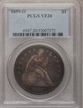 Seated Dollars: , 1859-O $1 VF20 PCGS. PCGS Population (4/694). NGC Census: (3/435).Mintage: 360,000. Numismedia Wsl. Price for problem free...