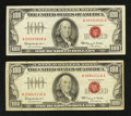 Small Size:Legal Tender Notes, Fr. 1550 $100 1966 Legal Tender Notes. Two Examples. Fine-Very Fine or Better.. ... (Total: 2 notes)
