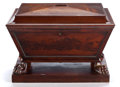 Furniture : English, A GEORGE IV MAHOGANY CELLARETTE . Probably London, England, circa 1820. Unmarked. 21 x 30-1/4 x 24-1/4 inches (53.3 x 76.8 x...