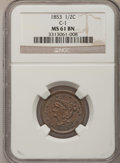 Half Cents: , 1853 1/2 C MS61 Brown NGC. C-1. NGC Census: (43/566). PCGSPopulation (5/368). Mintage: 129,694. Numismedia Wsl. Price for...