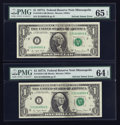 Error Notes:Ink Smears, Fr. 1910-I $1 1977A Federal Reserve Notes. Two ConsecutiveExamples. PMG Choice Uncirculated 64 EPQ-Gem Uncirculated 65EPQ.... (Total: 2 notes)