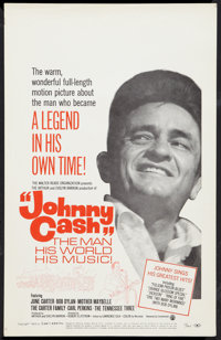 """Johnny Cash! The Man, His World, His Music (Continental, 1969). Window Card (14"""" X 22""""). Documentary"""