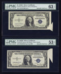 Error Notes:Foldovers, Fr. 1613N $1 1935D Narrow Silver Certificate. PMG AboutUncirculated 53 EPQ; Fr. 1614 $1 1935E Silver Certificate. PMGChoice ... (Total: 2 notes)