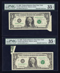 Error Notes:Foldovers, Fr. 1921-B $1 1995 Federal Reserve Notes. Two Examples. PMG ChoiceVery Fine 35 EPQ.. ... (Total: 2 notes)