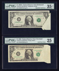 Error Notes:Foldovers, Fr. 1913-D $1 1985 Federal Reserve Note. PMG Very Fine 25;. Fr.1915-E $1 1988A Federal Reserve Note. PMG Choice Very Fine 35 ...(Total: 2 notes)