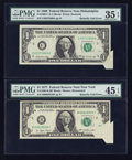 Error Notes:Foldovers, Fr. 1903-C $1 1969 Federal Reserve Note. PMG Choice Very Fine 35EPQ; Fr. 1909-B $1 1977 Federal Reserve Note. PMG Choice Extr...(Total: 2 notes)