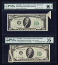 Error Notes:Foldovers, Fr. 2010-D $10 1950 Wide Federal Reserve Note. PMG Choice Very Fine35; Fr. 2011-E $10 1950A Federal Reserve Note. PMG Extreme...(Total: 2 notes)