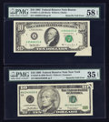 Error Notes:Foldovers, Fr. 2031-A $10 1995 Federal Reserve Note. PMG Choice About Unc 58EPQ; Fr. 2033-B $10 1999 Federal Reserve Note. PMG Choice Ve...(Total: 2 notes)