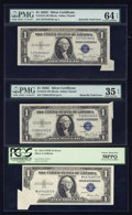 Error Notes:Foldovers, Two Fr. 1612 $1 1935C Silver Certificates. PMG Choice Very Fine 35EPQ-Choice Uncirculated 64 EPQ; Fr. 1614 $1 1935E Silver Ce...(Total: 3 notes)