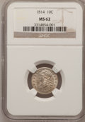 Bust Dimes: , 1814 10C Large Date MS62 NGC. NGC Census: (15/85). PCGS Population(17/53). Mintage: 421,500. Numismedia Wsl. Price for pro...