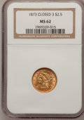 Liberty Quarter Eagles: , 1873 $2 1/2 Closed 3 MS62 NGC. NGC Census: (125/104). PCGSPopulation (64/114). Mintage: 55,225. Numismedia Wsl. Price for ...