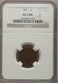 Indian Cents: , 1871 1C AG3 BN NGC. NGC Census: (2/409). PCGS Population (7/512).Mintage: 3,929,500. (#2100)...