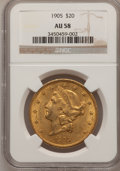 Liberty Double Eagles: , 1905 $20 AU58 NGC. NGC Census: (193/459). PCGS Population (83/413).Mintage: 58,900. Numismedia Wsl. Price for problem free...