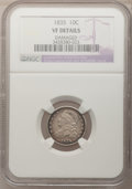 Bust Dimes: , 1835 10C --Damaged--NGC Details. VF. NGC Census: (2/417). PCGSPopulation (14/435). Mintage: 1,410,000. Numismedia Wsl. Pric...