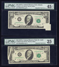 Error Notes:Foldovers, Fr. 2024-F $10 1977A Federal Reserve Note. PMG Choice ExtremelyFine 45 EPQ; Fr. 2024-H $10 1977A Federal Reserve Note. PMG Ve...(Total: 2 notes)